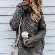 Maternity Solid Color Turtleneck Sweater