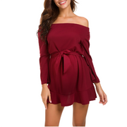 Maternity Off Shoulder Strap With Ruffled Dress