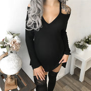 Maternity V-Neck Strapless Solid Color Dress
