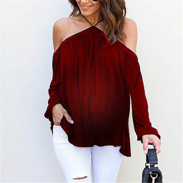 Maternity Solid Color Long Sleeve Strapless T-Shirt