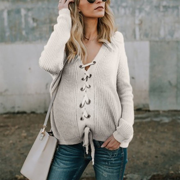 Maternity Pure Color Long Sleeve Belted Sweater