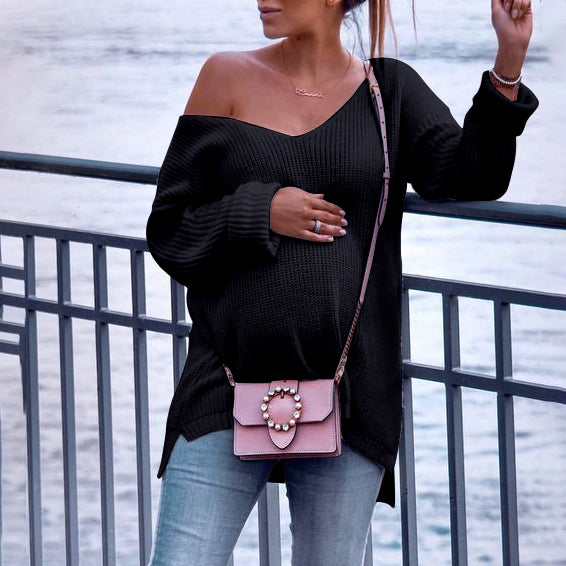 Maternity Classy V Neck  Solid Color Long Sleeve Sweater