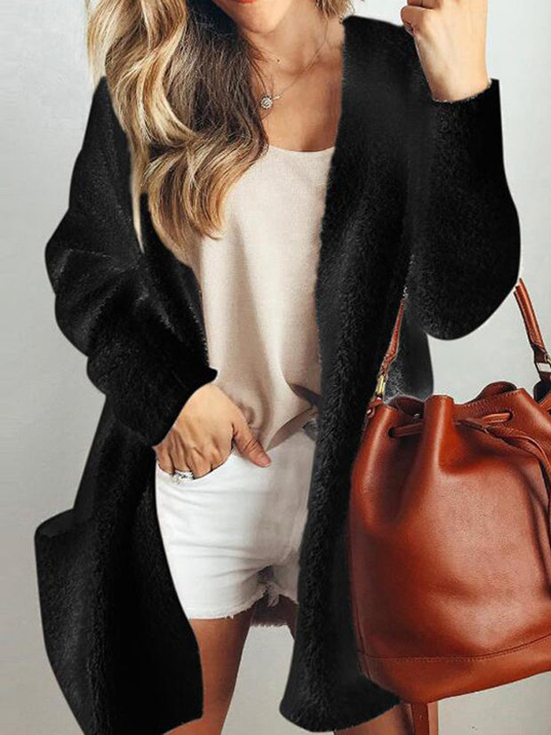 Warm Pocket Velvet Jacket Thick Cardigan