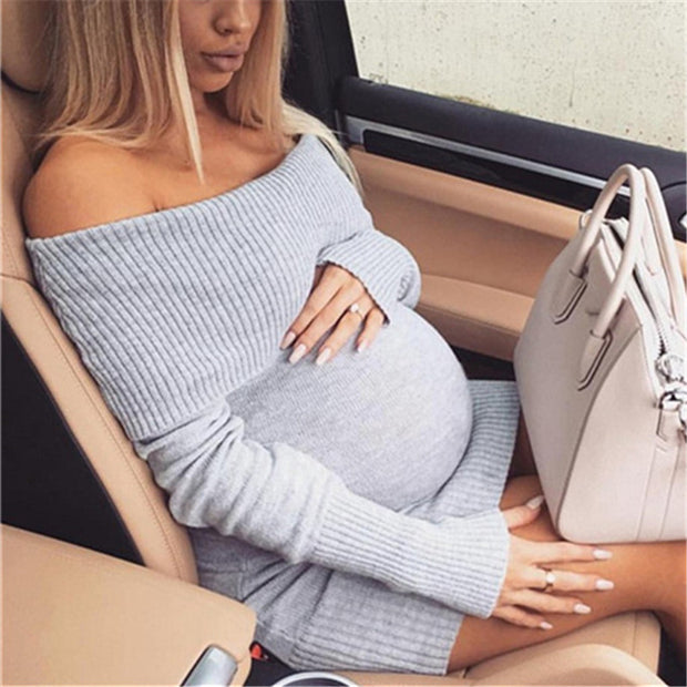 Maternity Solid Color Off-The-Shoulder Knit Rib Bodycon Dress