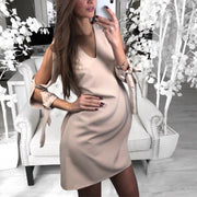 Maternity Casual Pure Color Off Shoulder V Neck Dress