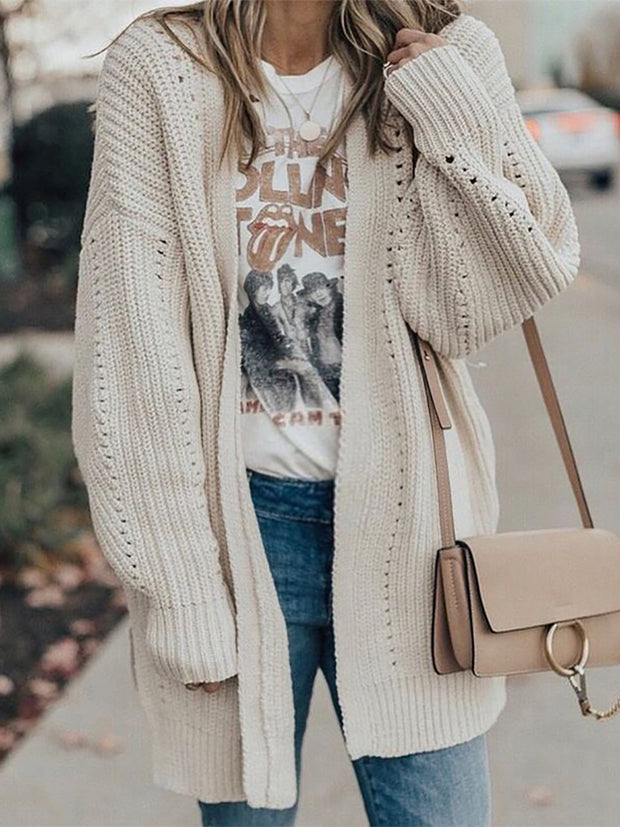 Maternity Splicing Knit Hollow Out  Cardigan