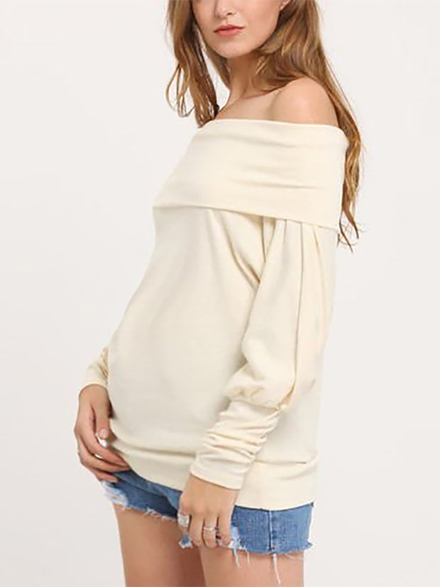 Maternity Knitted Collar Bat Sleeve T-Shirt