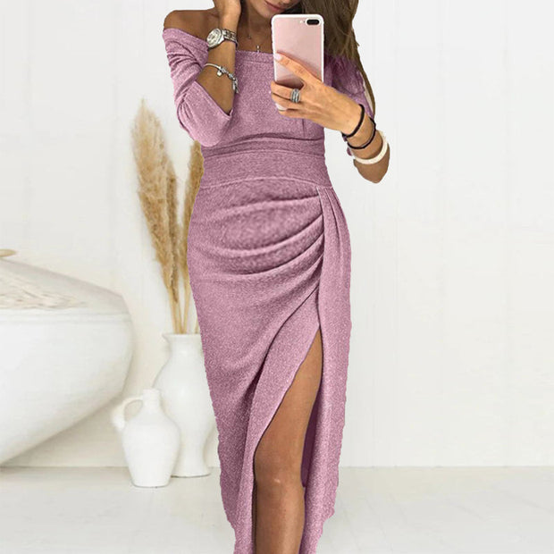 Maternity Sexy Off-The-Shoulder Pleated Split Bodycon Dress