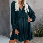 Maternity V-Neck Splicing Ruffle Lantern Sleeve Short Dress