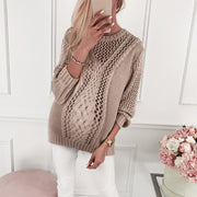 Maternity Hollow Out Long Sleeve Pure Color Sweater
