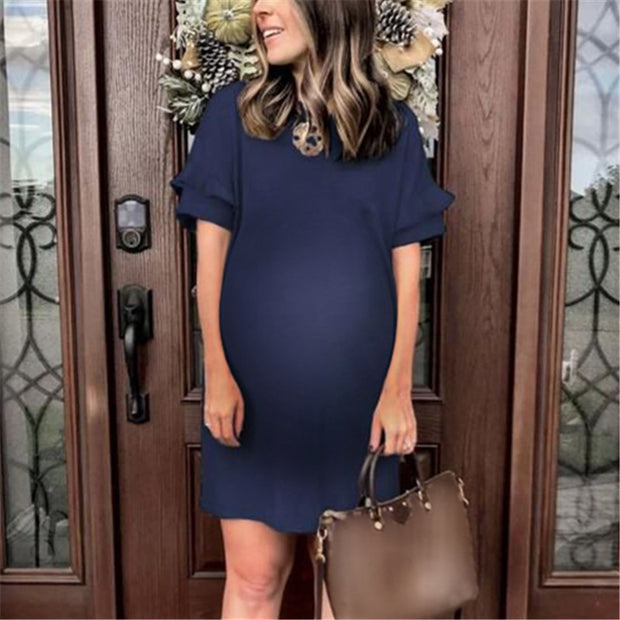Maternity Solid Color Round Neck Short Ruffle Sleeve Dress