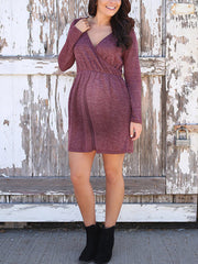 Maternity V-Neck Waist Pure Color Dress