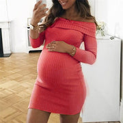 Maternity Off-The-Shoulder Knit Rib Long Sleeve Bodycon Dress
