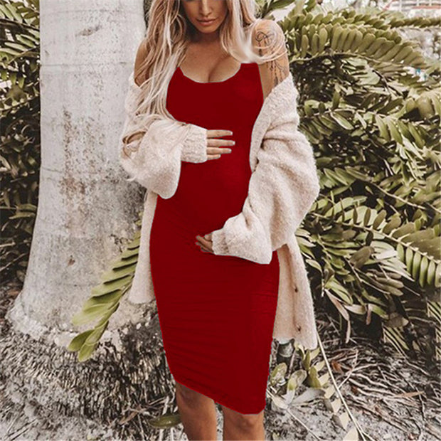 Maternity Solid Color Scoop Neck Vest Bodycon Dress