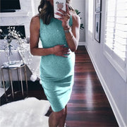 Maternity Solid Color Sleeveless Bodycon Dress