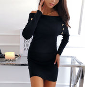 Maternity Fashion Pure Color Off Shoulder Dress