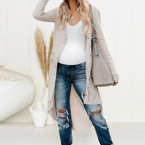 Maternity Casual Long Sleeve Pure Colour Loose Cardigan