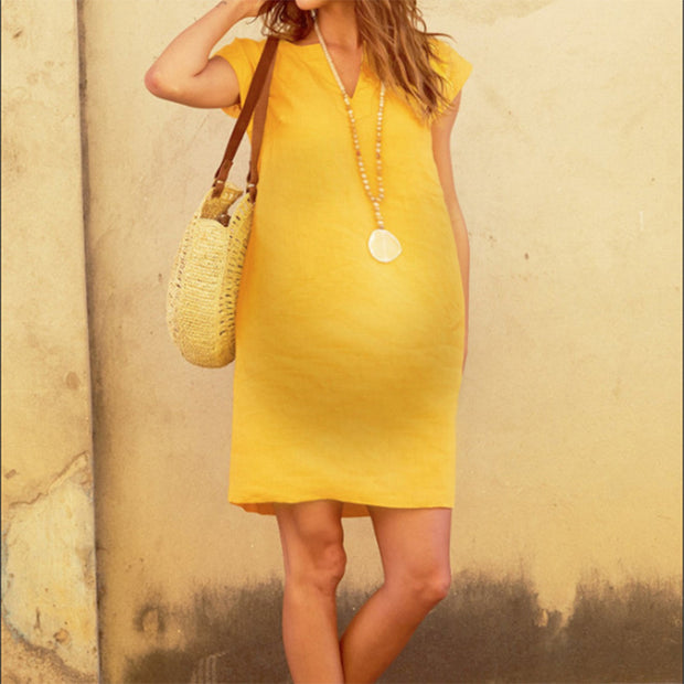 Maternity Solid Color V-Neck Short-Sleeved Splicing Cotton And Linen Dress