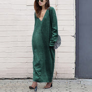 Maternity Casual Solid Color V-Collar Loose Dress