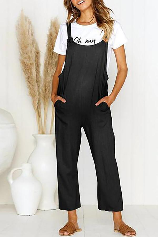 Maternity  Vintage  Round Neck Short Sleeve Pure Colour Jumpsuit