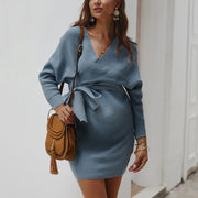 Maternity Pure Color V-Collar Long-Sleeved Dress