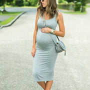 Maternity Round Neck Sheath Dress