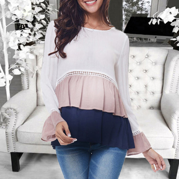 Maternity   Casual Chiffon Stitching Color Trumpet Sleeves Ladies Tops