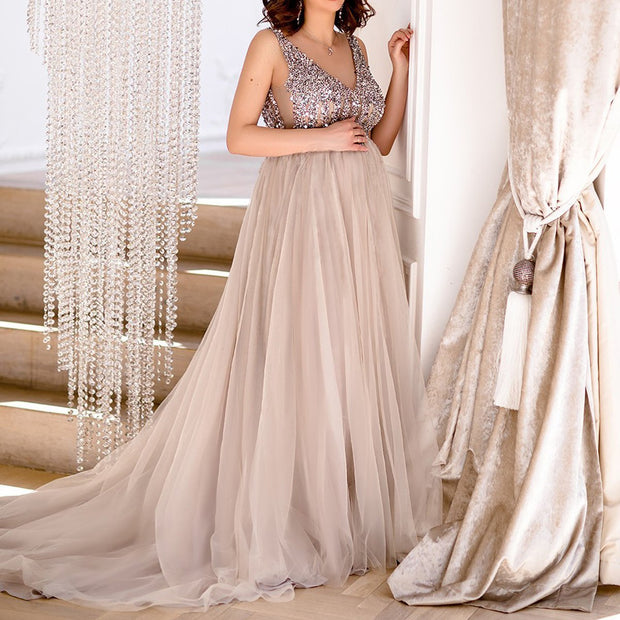Maternity Maxi Tulle Gown With Tonal Delicate Sequins