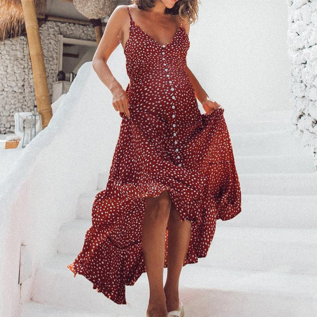 Maternity Bohemian Style Wave-Point Printing Open Shoulder Beach Dress