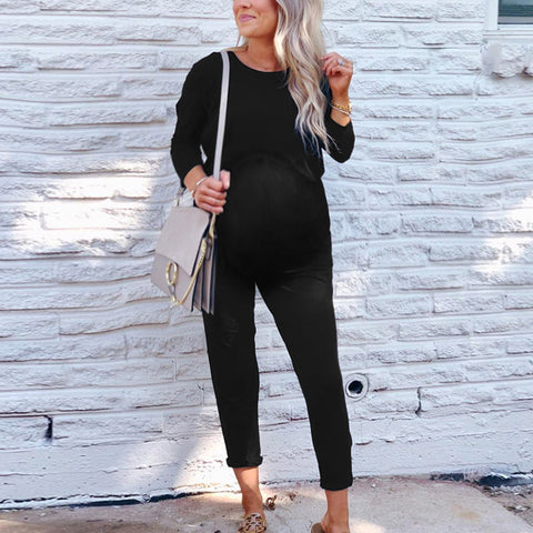 Maternity Fashion Pure Color Round Neck Long Sleeve Jumpsuit