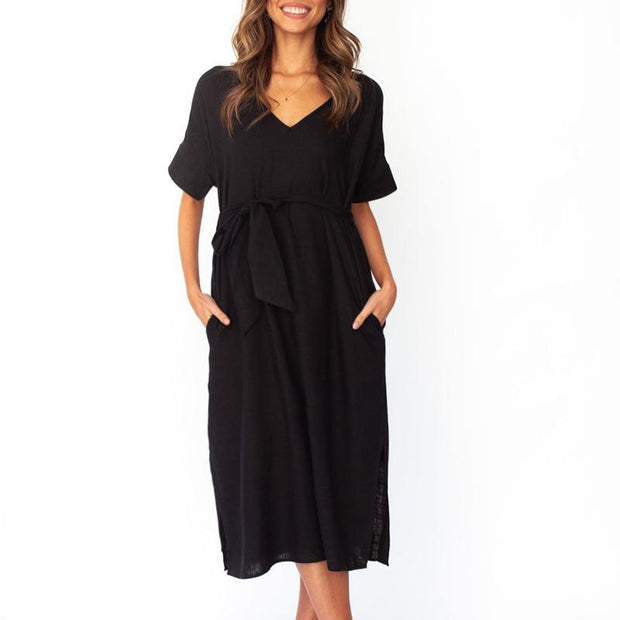 Maternity V-Neck A Slit - Belted Dress With Short Sleeves