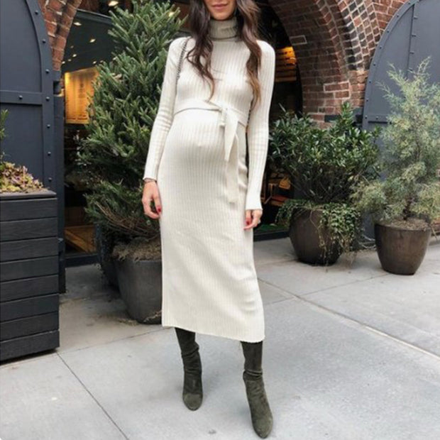 Maternity Long High Collar Pure Color Belted Sweater
