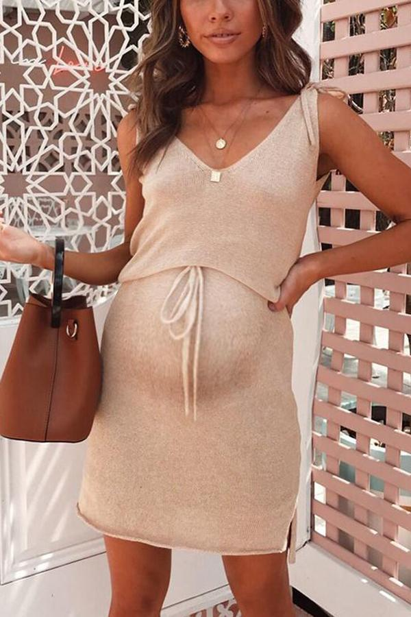 Maternity Plain V-Neck Casual Above Dress