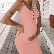 Maternity Casual Pure Color Spaghetti Strap Dress