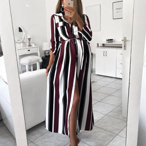 Maternity Fashion Striped Fold Over Collar Belted Single-Breasted Dress