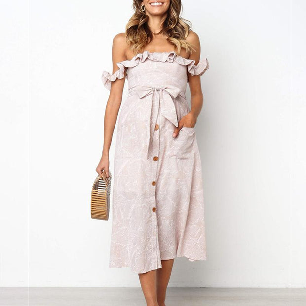 Maternity Scalloped Shoulder With Open Back Lacing Dress