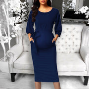 Maternity Women's Round Neck Solid Color Dress