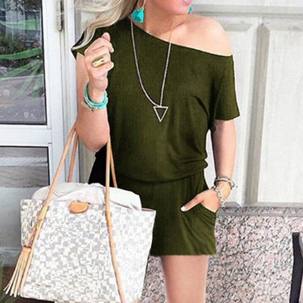 Maternity Casual Short-Sleeved Pocket Jumpsuit