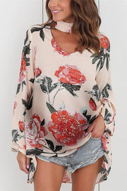 Maternity Digital Printed Hanging Neck Loose Top