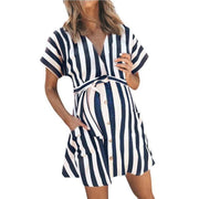 Maternity V-Neck Stripe Tie Above Dress