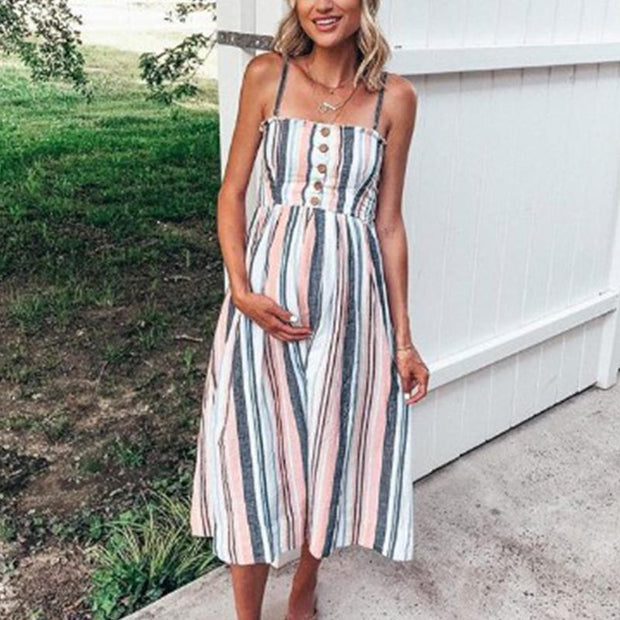 Maternity Stripe Midi Dress