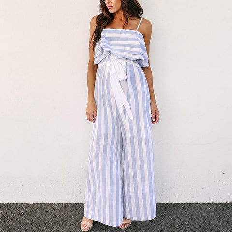Maternity Striped Printing Open-Shoulder Sleeveless Sling Wide-Legged Jumpsuit