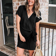 Maternity Casual V Neck Frenulum Dress