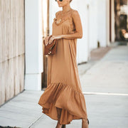 Maternity Plain V-Neck Spaghetti Strap Loose Maxi Dress