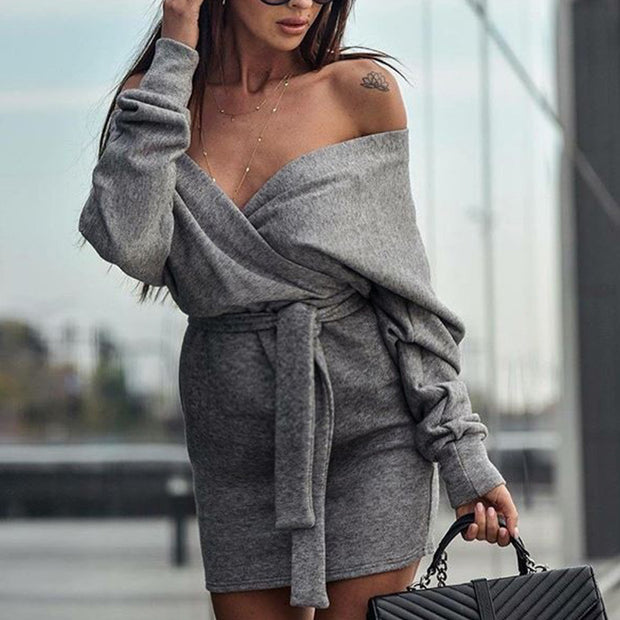 Maternity Casual Off Shoulder Long Sleeve Belted Dress