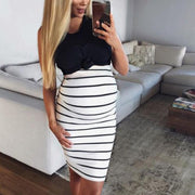 Maternity Casual Round Neck Sleeveless Stripe Dress