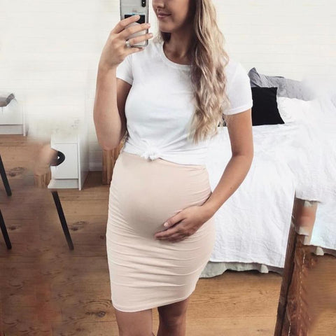 Maternity Short Sleeve Double-Layer Bodycon Dress