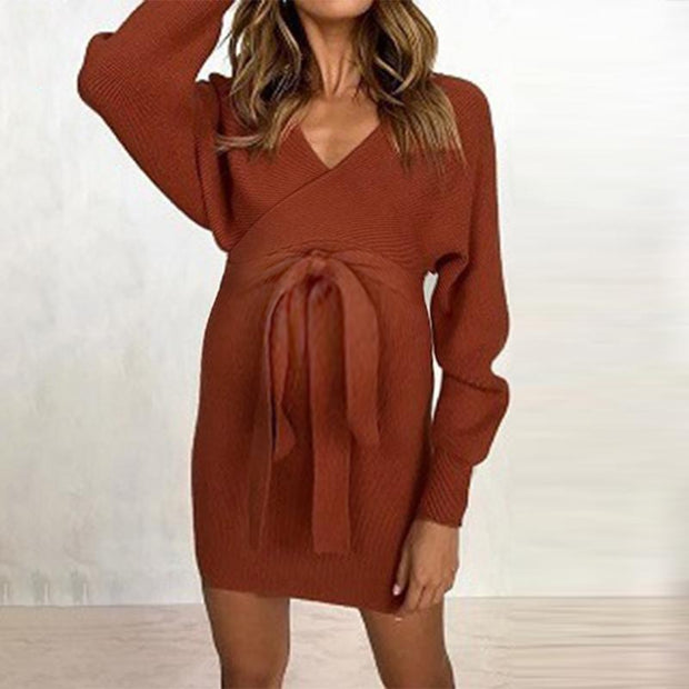 Sexy Belted V-Neck Long Sleeve Dress