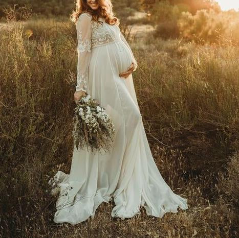 Maternity Lace Long Sleeves Photoshoot Dress