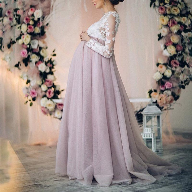 Maternity Elegant Lace Long Sleeve See-Through Dress